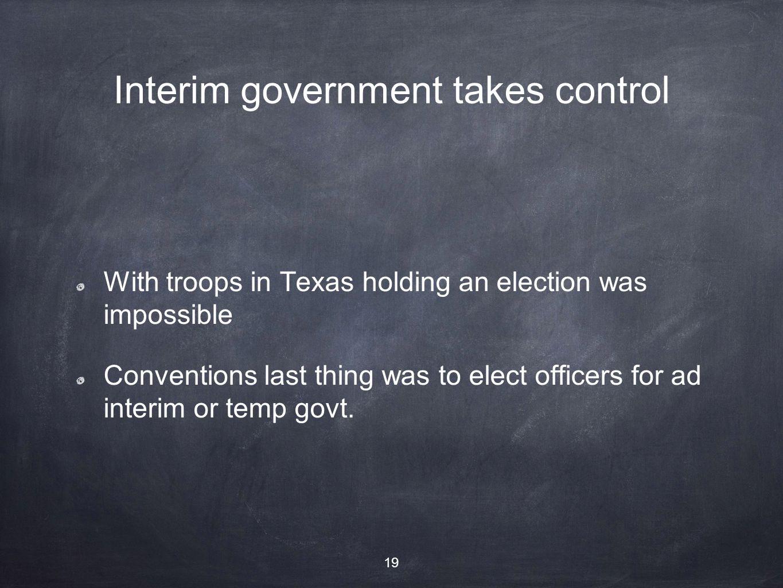 Interim government takes control