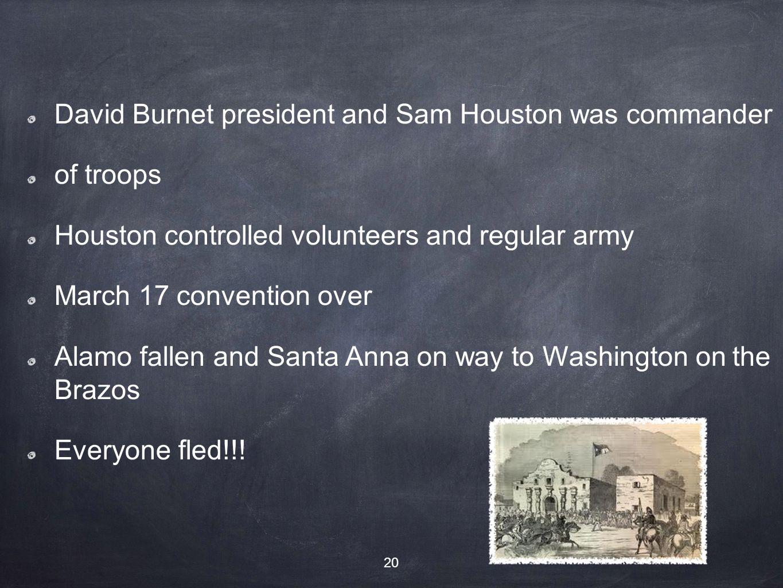 David Burnet president and Sam Houston was commander of troops