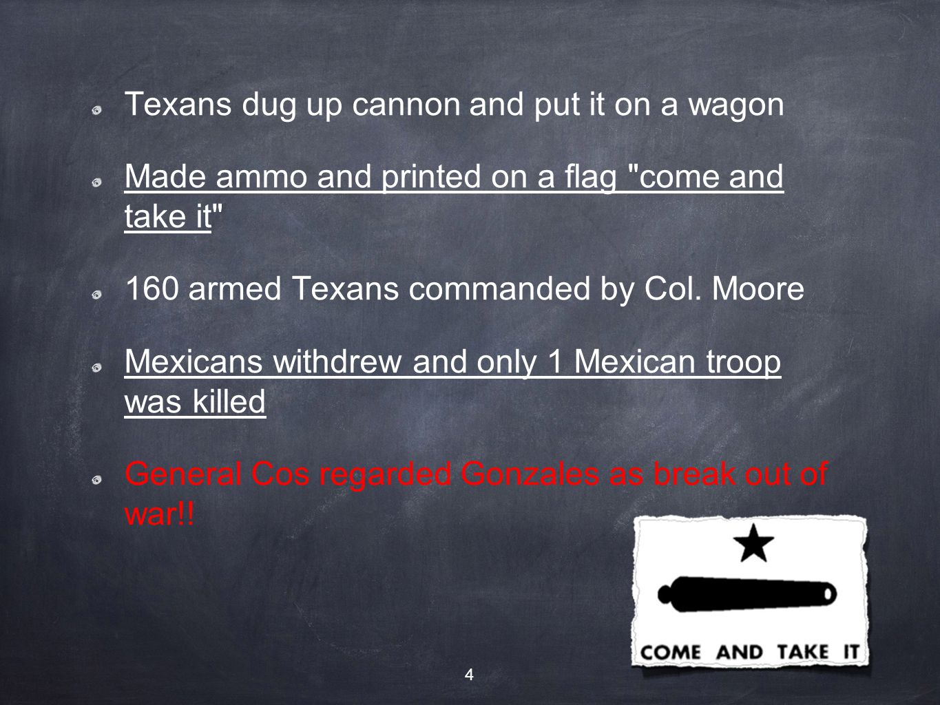 Texans dug up cannon and put it on a wagon