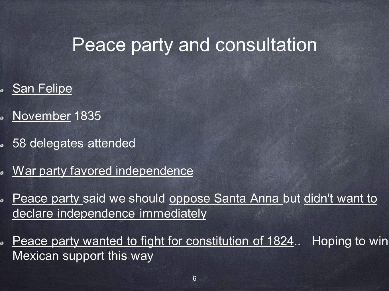 Peace party and consultation