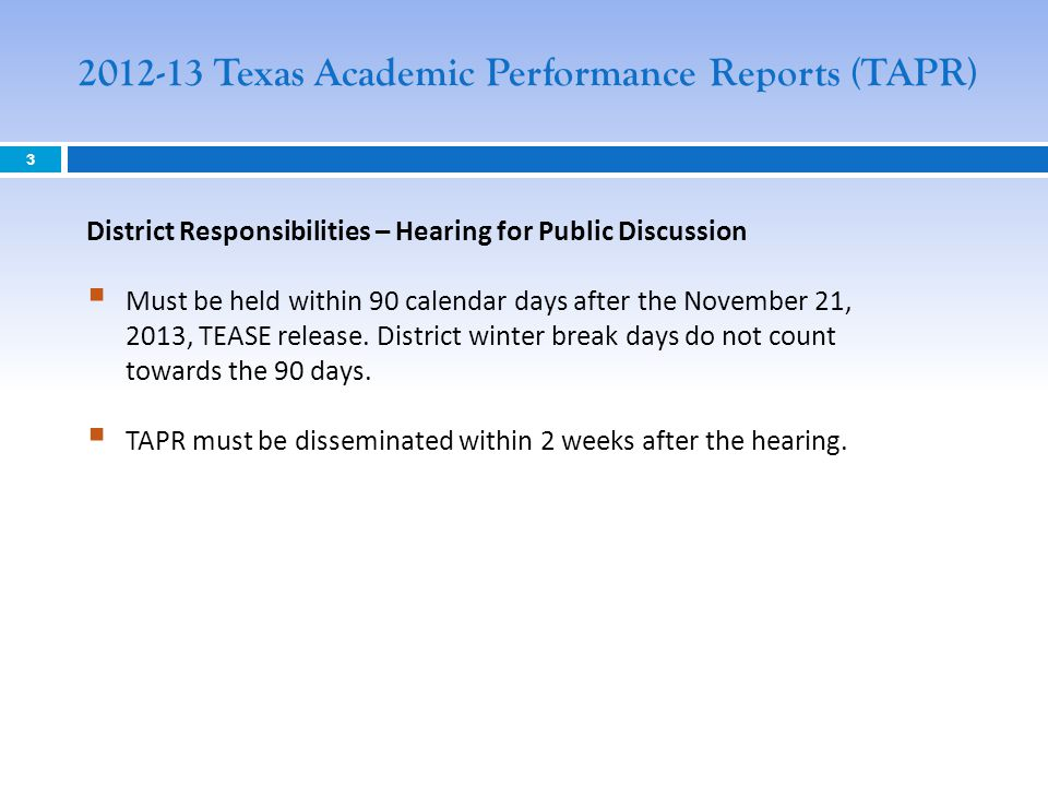 2012-13 Texas Academic Performance Reports (TAPR)