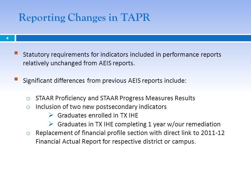 Reporting Changes in TAPR