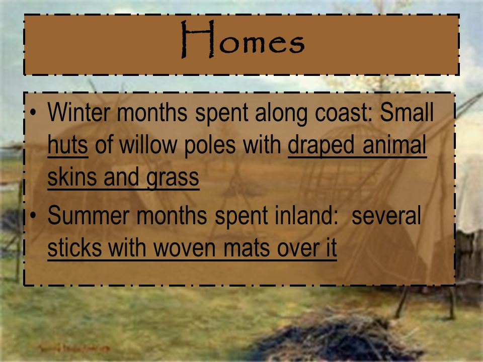 Homes Winter months spent along coast: Small huts of willow poles with draped animal skins and grass.
