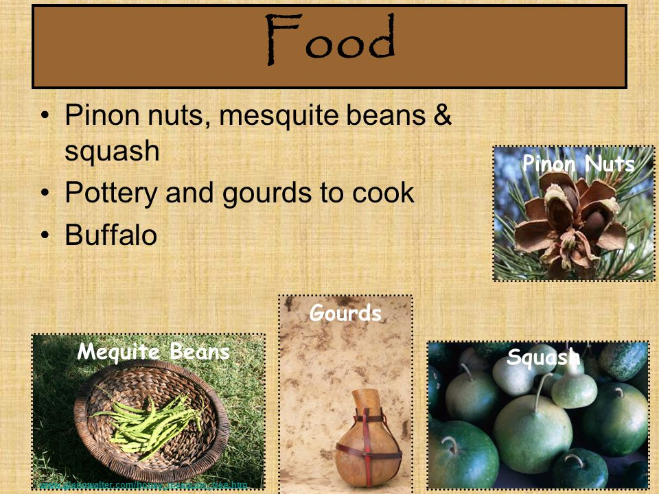 Food Pinon nuts, mesquite beans & squash Pottery and gourds to cook