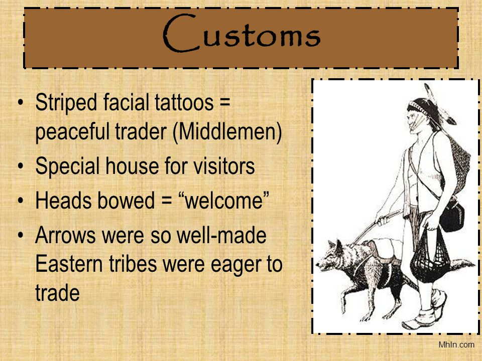 Customs Striped facial tattoos = peaceful trader (Middlemen)