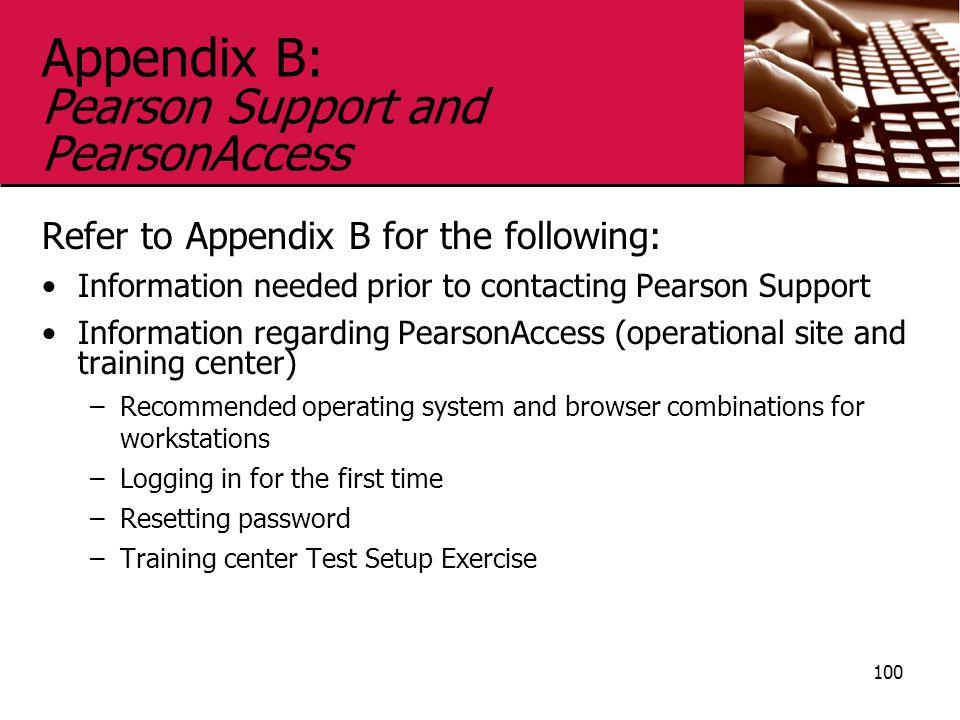 Appendix B: Pearson Support and PearsonAccess