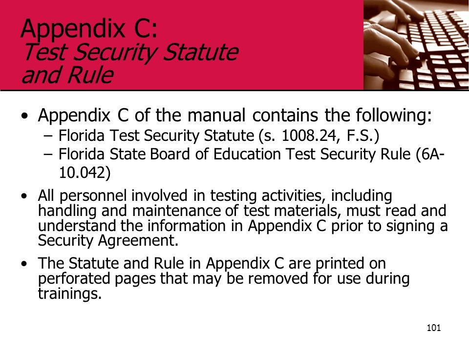 Appendix C: Test Security Statute and Rule