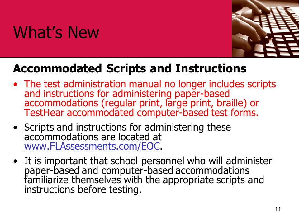 What's New Accommodated Scripts and Instructions