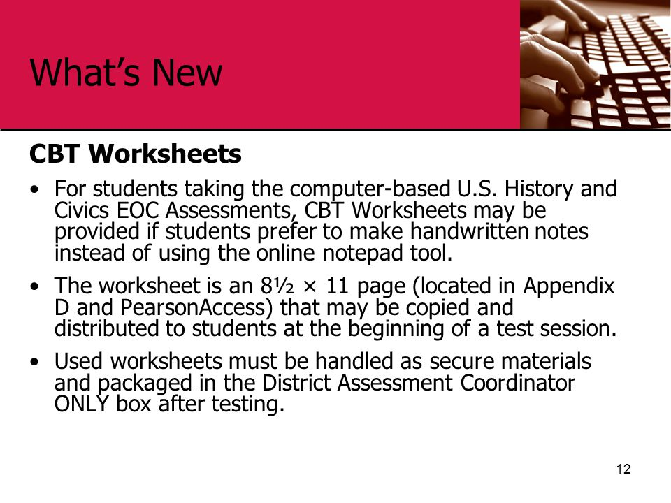 What's New CBT Worksheets