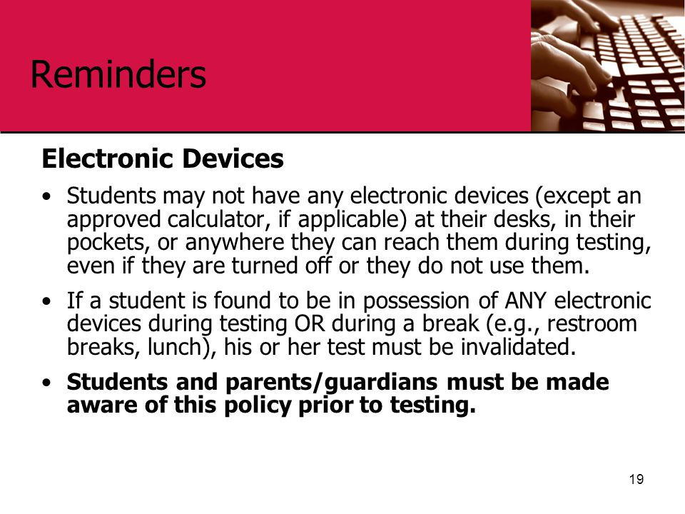 Reminders Electronic Devices
