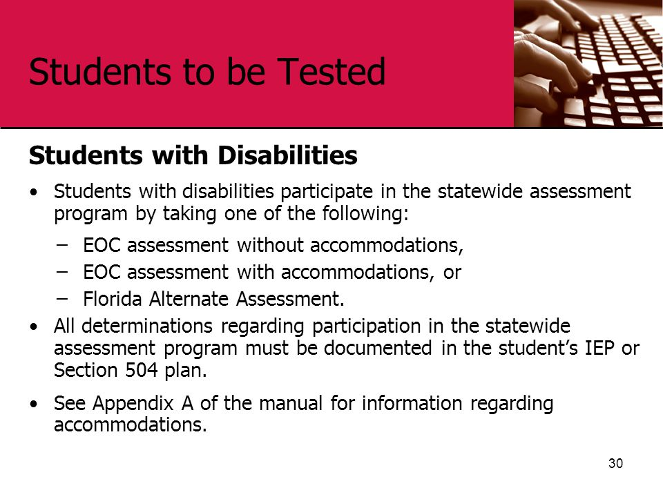 Students to be Tested Students with Disabilities