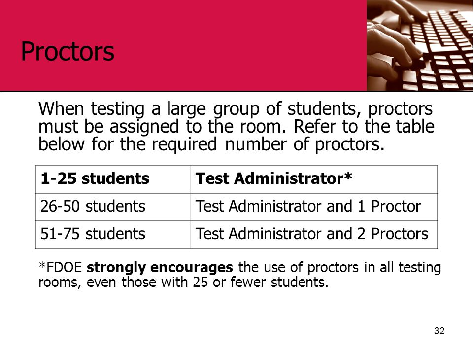 Proctors When testing a large group of students, proctors must be assigned to the room. Refer to the table below for the required number of proctors.