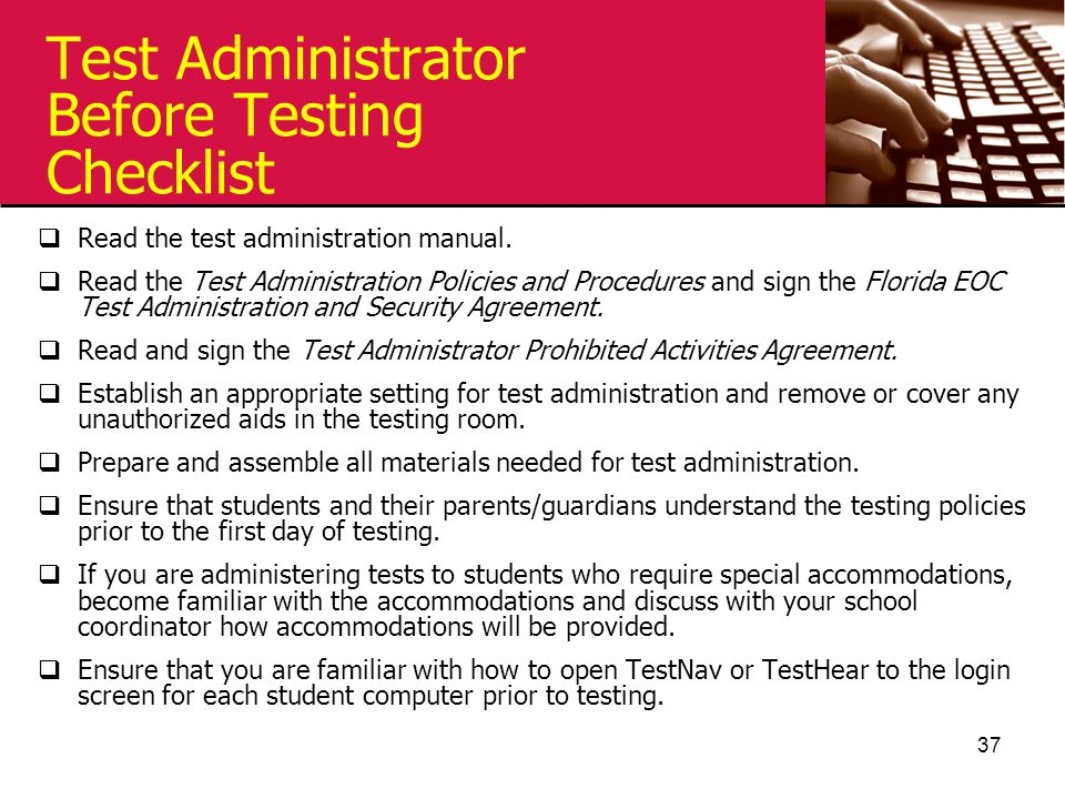 Test Administrator Before Testing Checklist