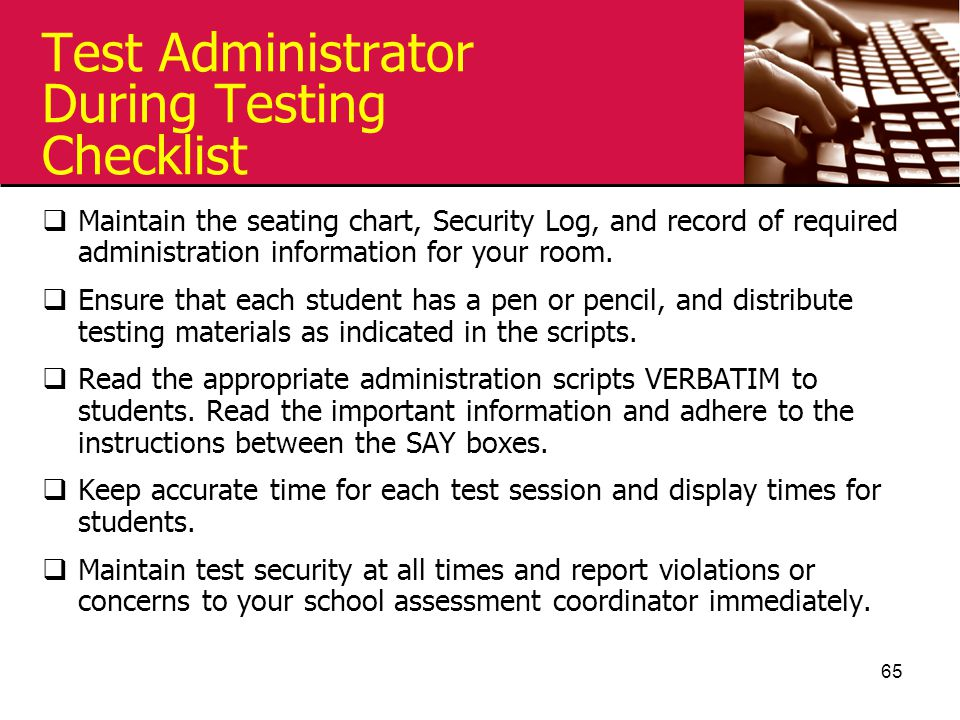 Test Administrator During Testing Checklist