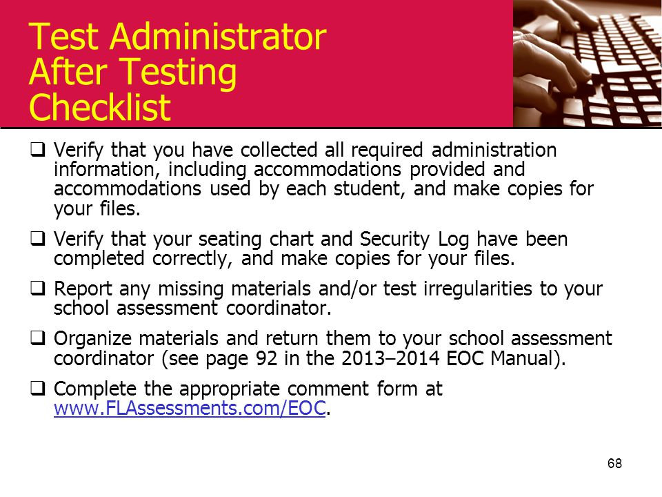 Test Administrator After Testing Checklist