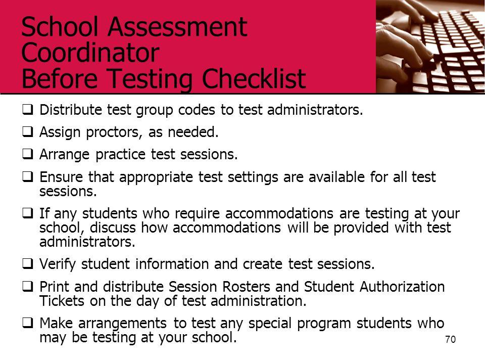 School Assessment Coordinator Before Testing Checklist