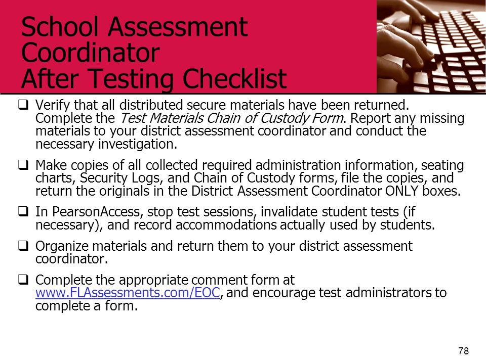 School Assessment Coordinator After Testing Checklist