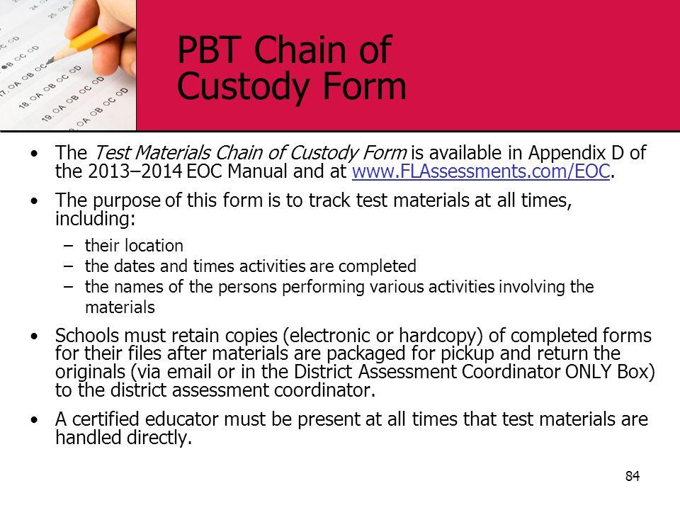 PBT Chain of Custody Form