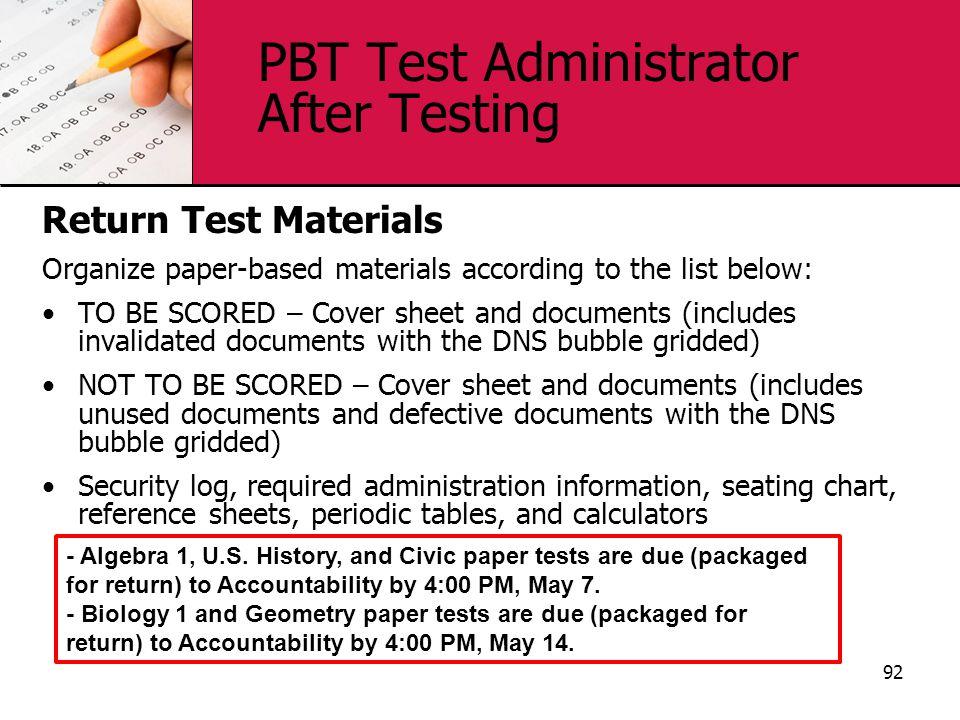 PBT Test Administrator After Testing