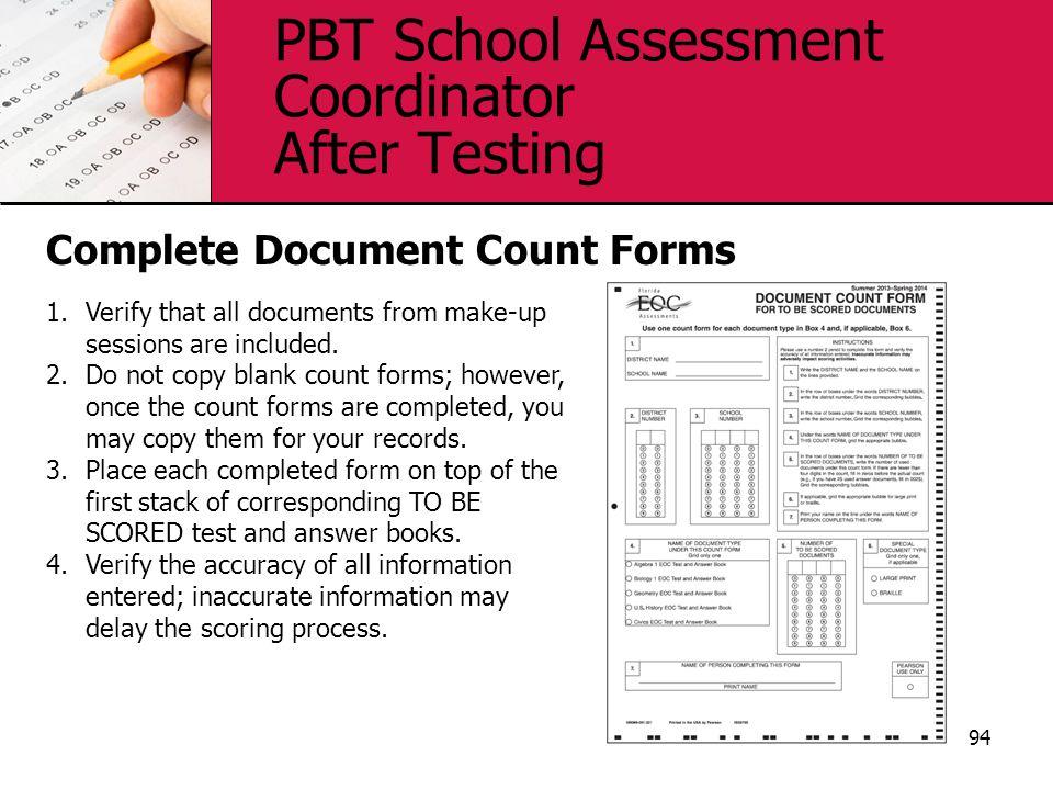 PBT School Assessment Coordinator After Testing