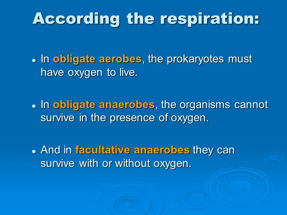 According the respiration: