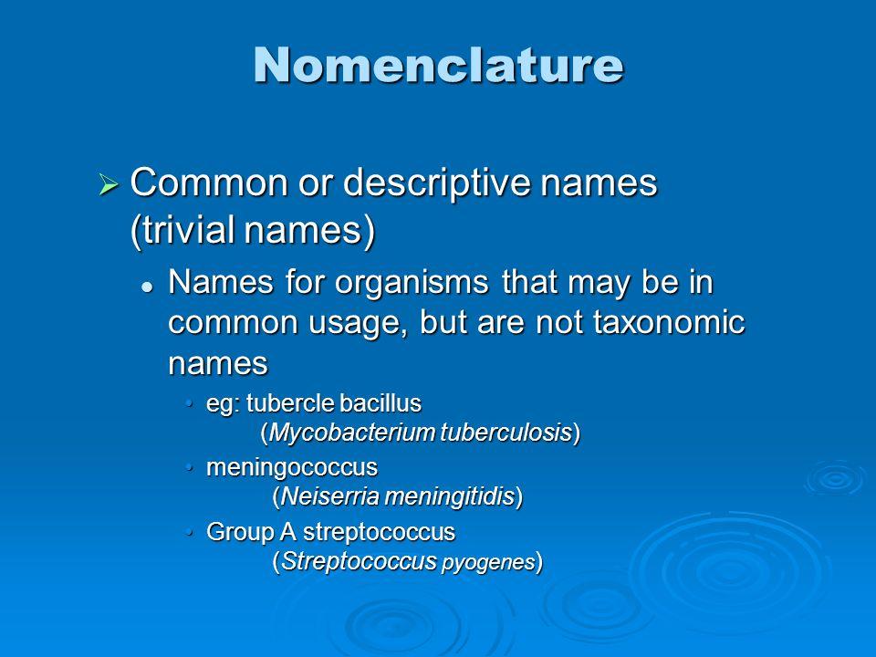 Nomenclature Common or descriptive names (trivial names)