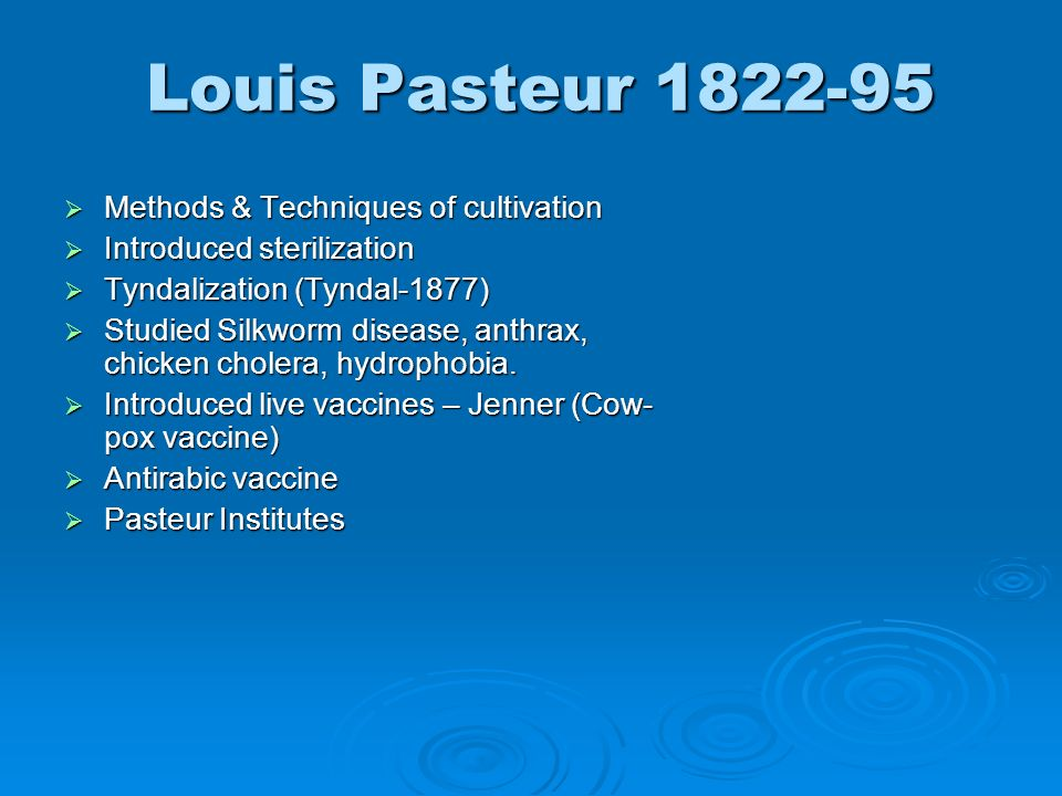 Louis Pasteur 1822-95 Methods & Techniques of cultivation