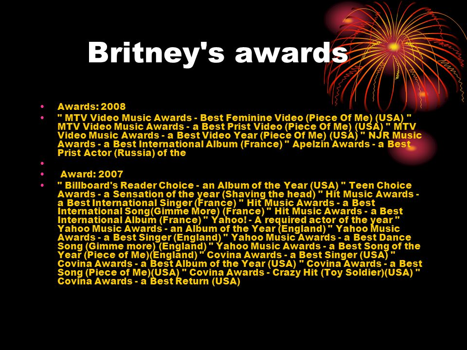 Britney s awards Awards: 2008