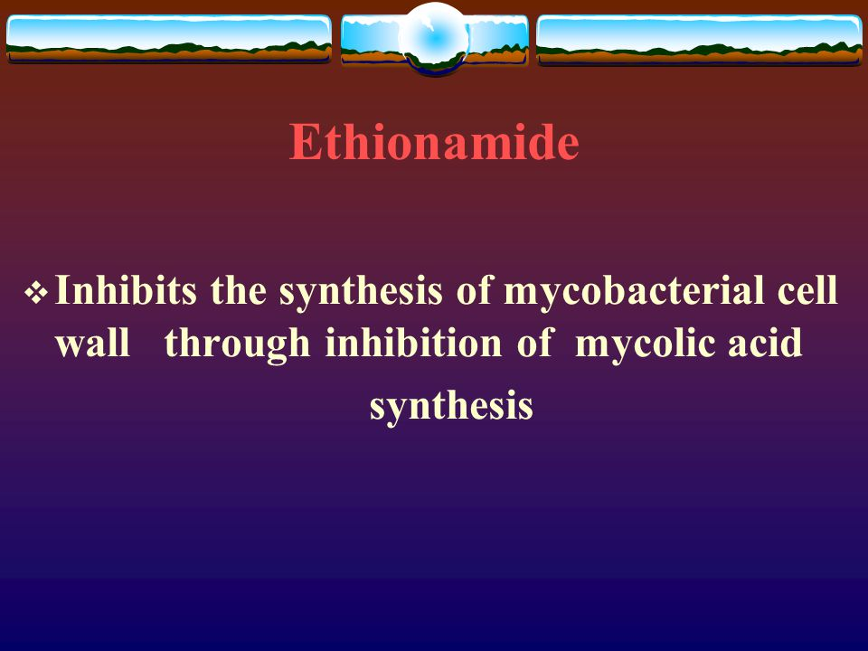 Ethionamide Inhibits the synthesis of mycobacterial cell wall through inhibition of mycolic acid.