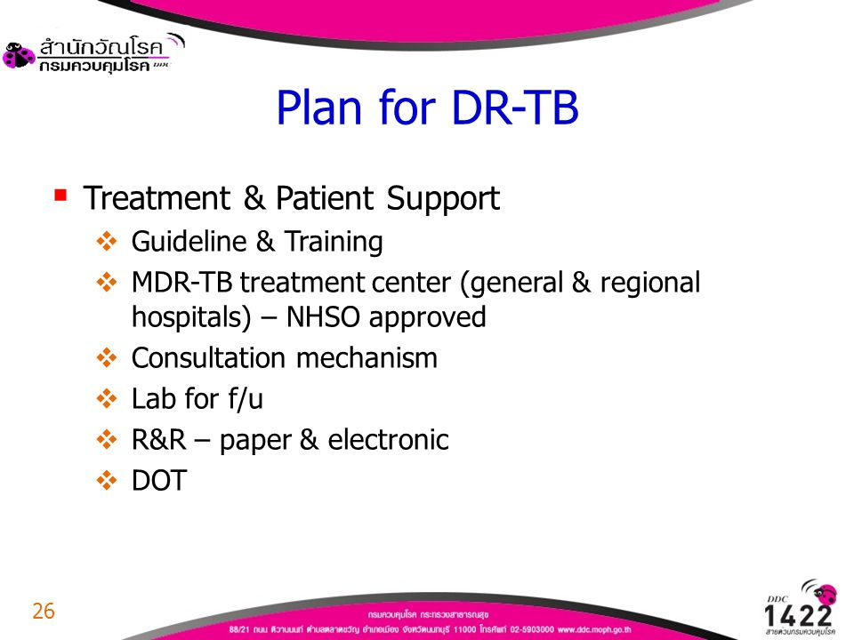 Plan for DR-TB Treatment & Patient Support Guideline & Training