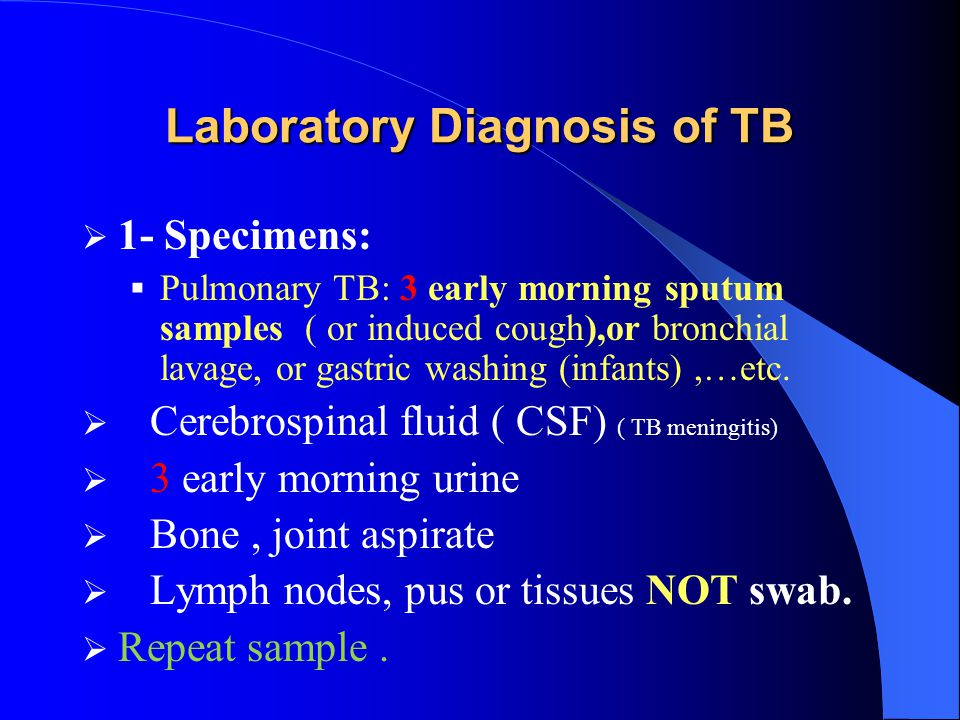 Laboratory Diagnosis of TB