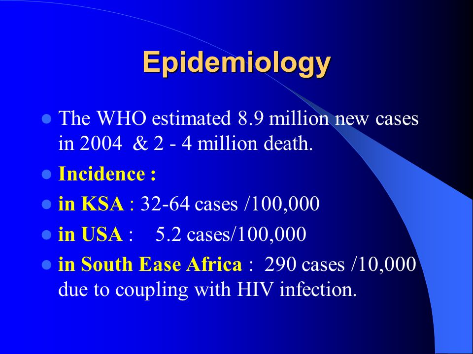 Epidemiology The WHO estimated 8.9 million new cases in 2004 & 2 - 4 million death. Incidence : in KSA : 32-64 cases /100,000.