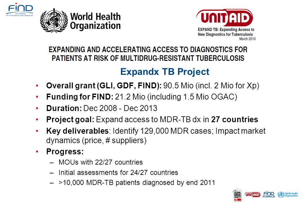 Expandx TB Project Overall grant (GLI, GDF, FIND): 90.5 Mio (incl. 2 Mio for Xp) Funding for FIND: 21.2 Mio (including 1.5 Mio OGAC)