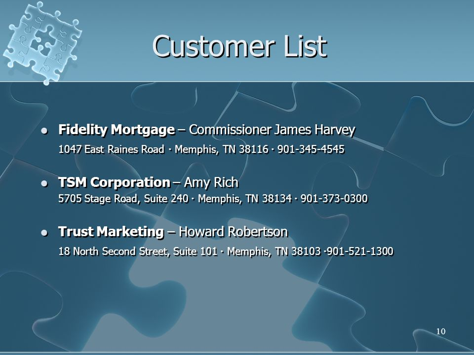 Customer List Fidelity Mortgage – Commissioner James Harvey