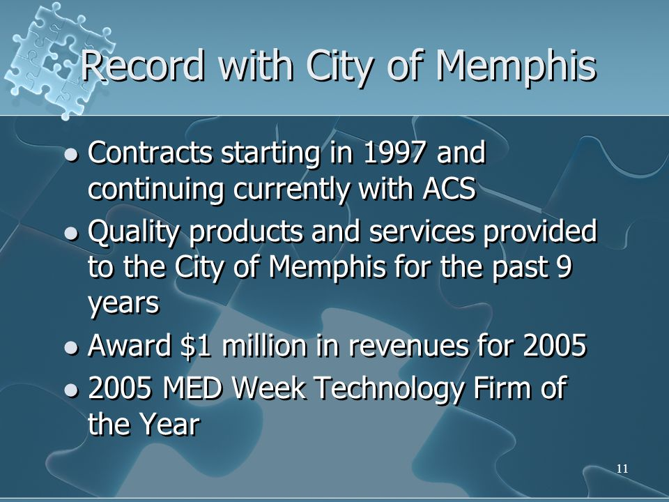 Record with City of Memphis