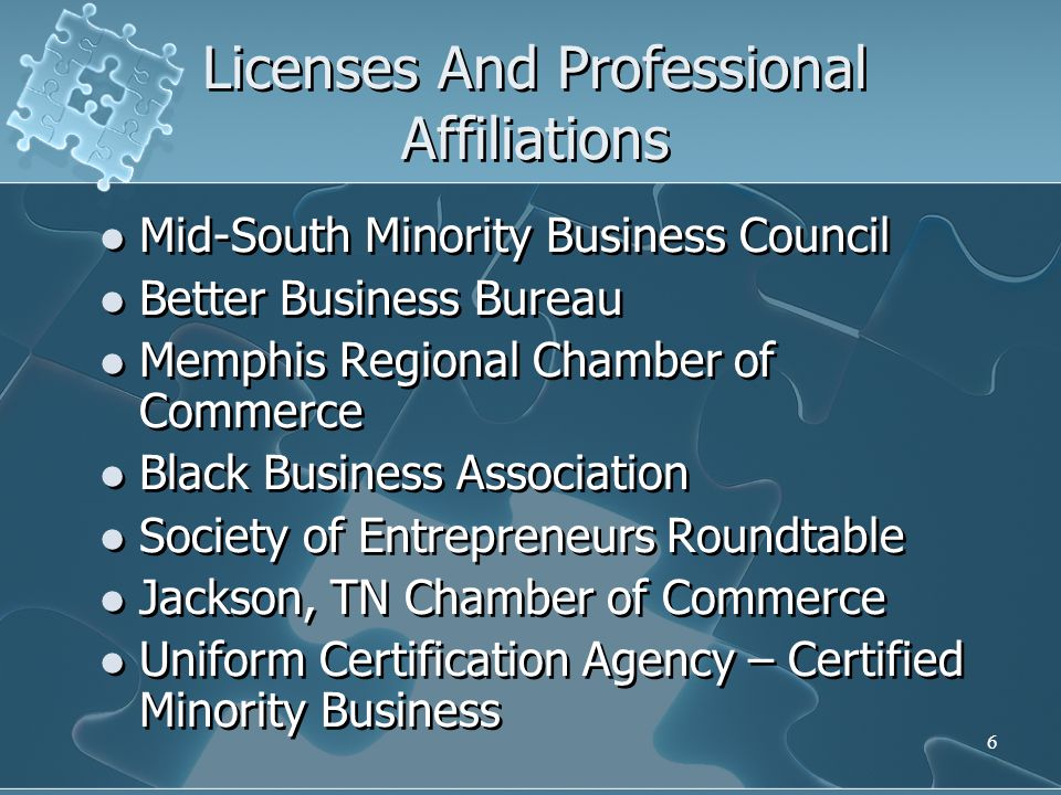 Licenses And Professional Affiliations