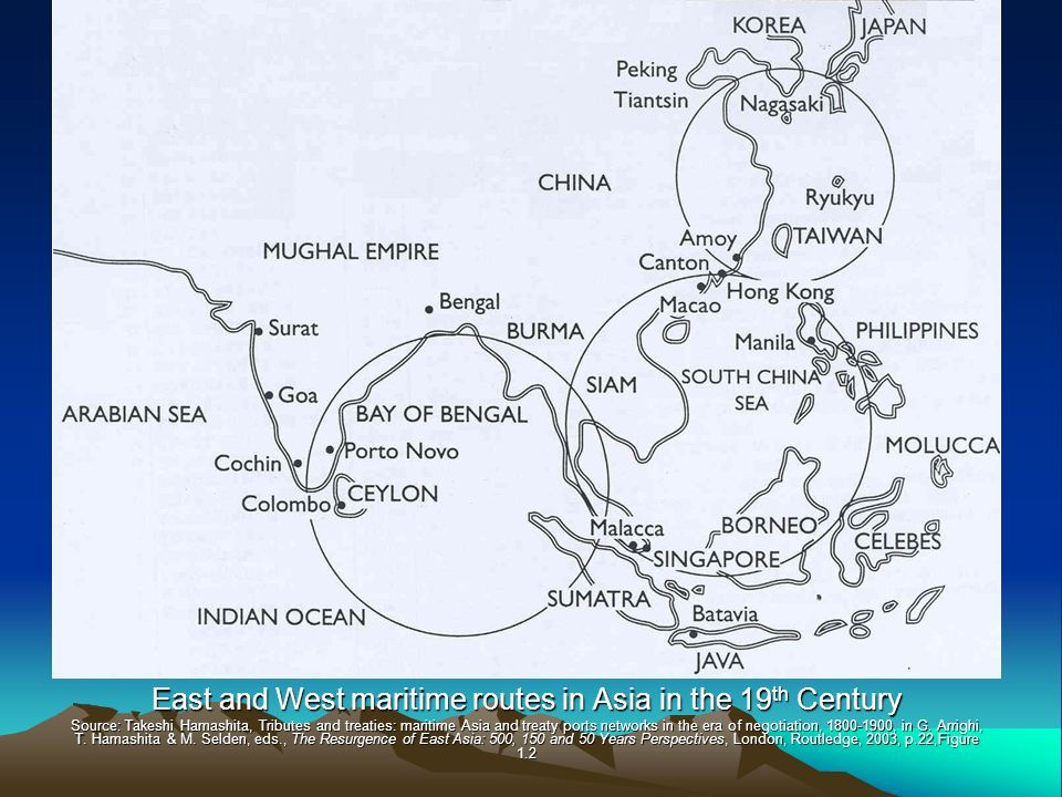 East and West maritime routes in Asia in the 19th Century