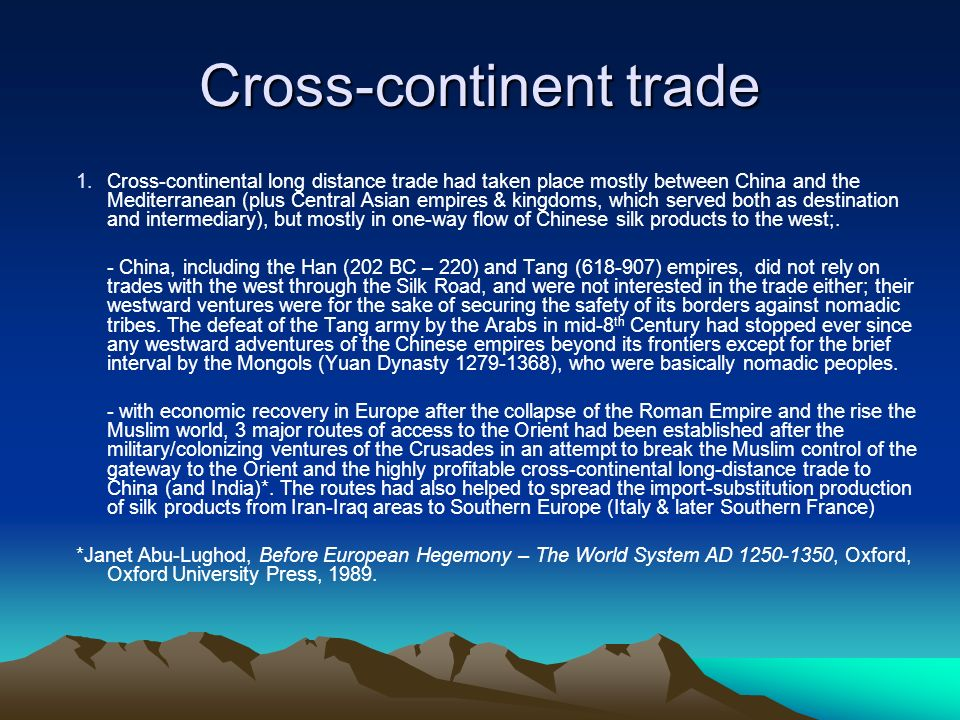 Cross-continent trade