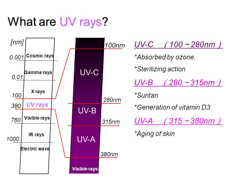What are UV rays UV-C (100~280nm) Cosmic rays Gamma rays UV-C