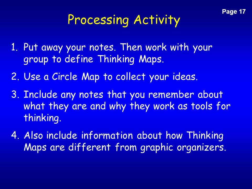 Page 17 Processing Activity. Put away your notes. Then work with your group to define Thinking Maps.