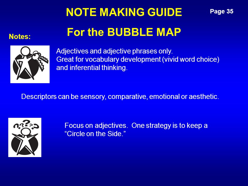 NOTE MAKING GUIDE For the BUBBLE MAP