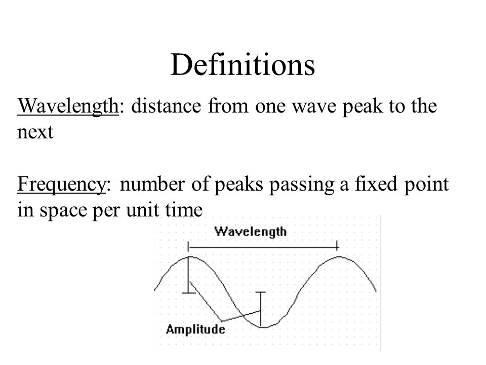 Definitions Wavelength: distance from one wave peak to the next