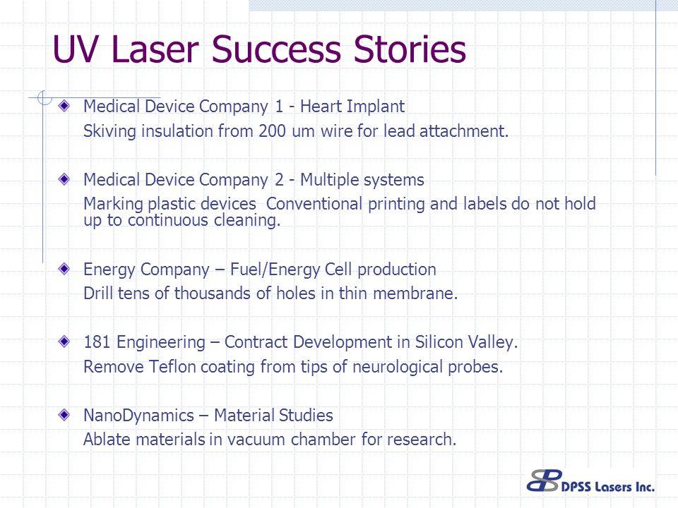 UV Laser Success Stories