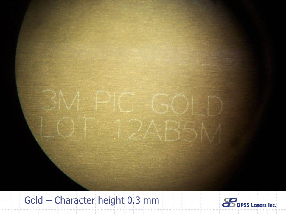 Gold – Character height 0.3 mm