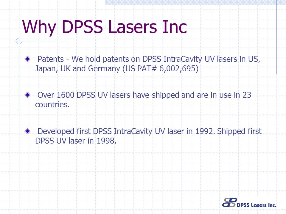 Why DPSS Lasers IncPatents - We hold patents on DPSS IntraCavity UV lasers in US, Japan, UK and Germany (US PAT# 6,002,695)