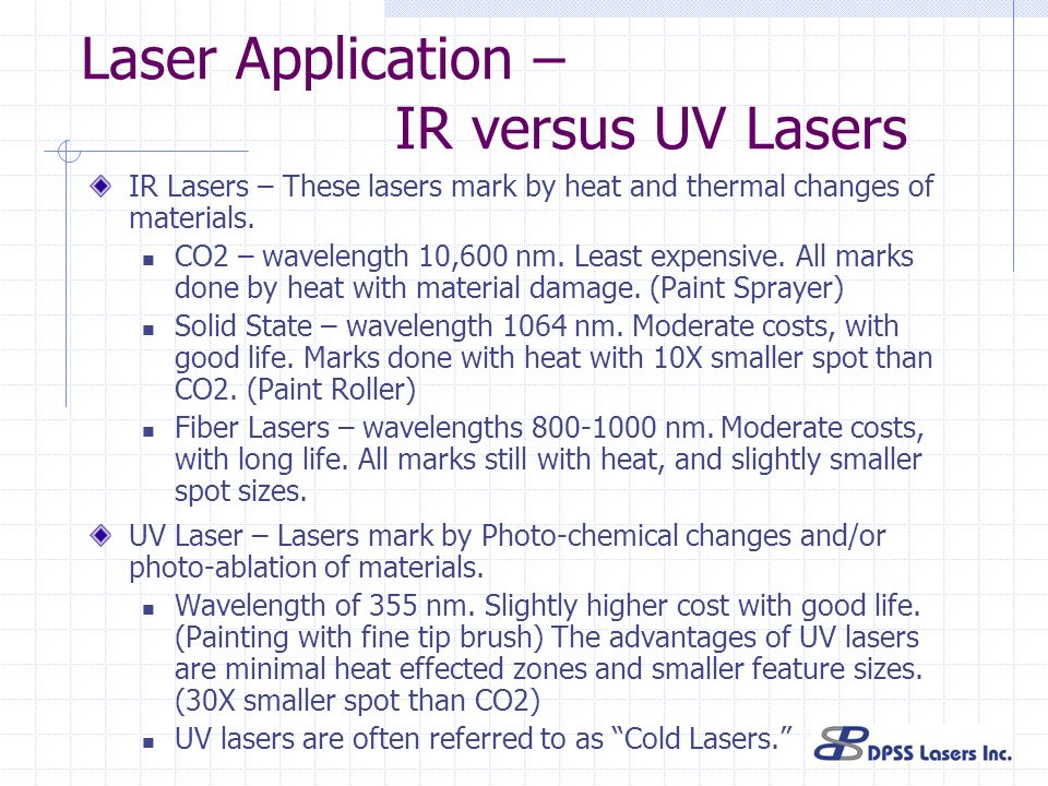 Laser Application – IR versus UV Lasers