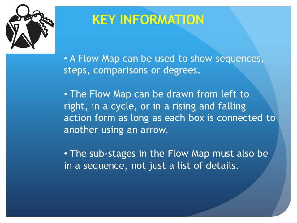 KEY INFORMATION A Flow Map can be used to show sequences, steps, comparisons or degrees.