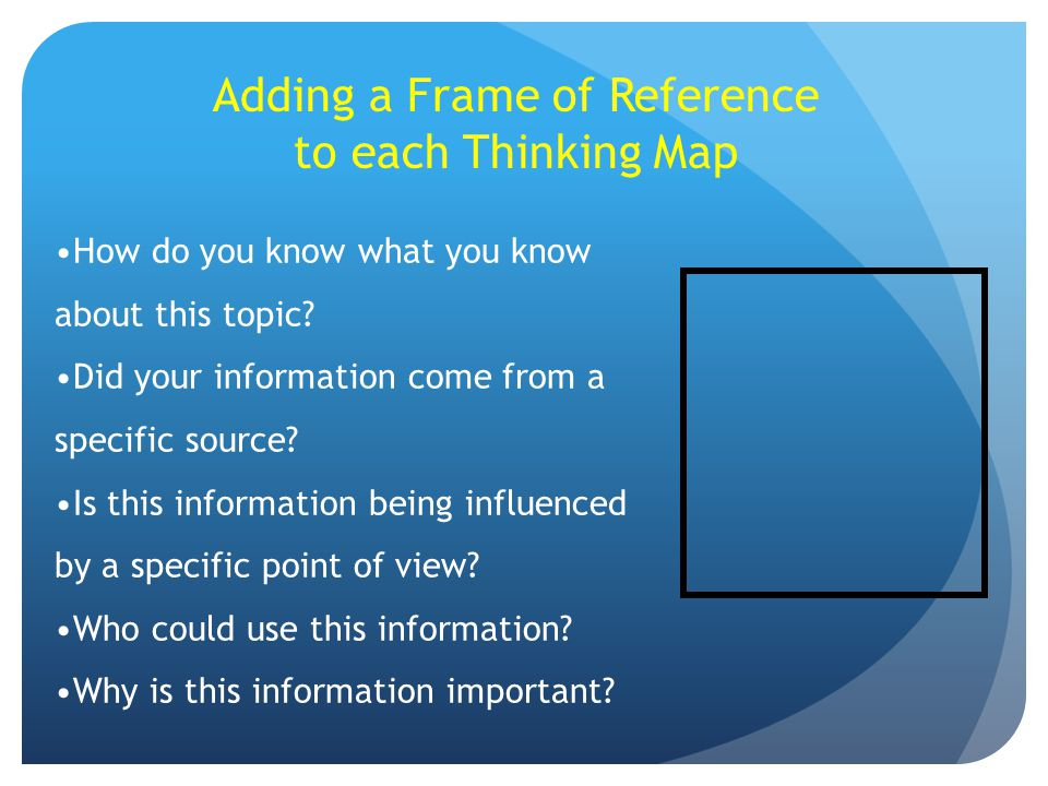 Adding a Frame of Reference to each Thinking Map