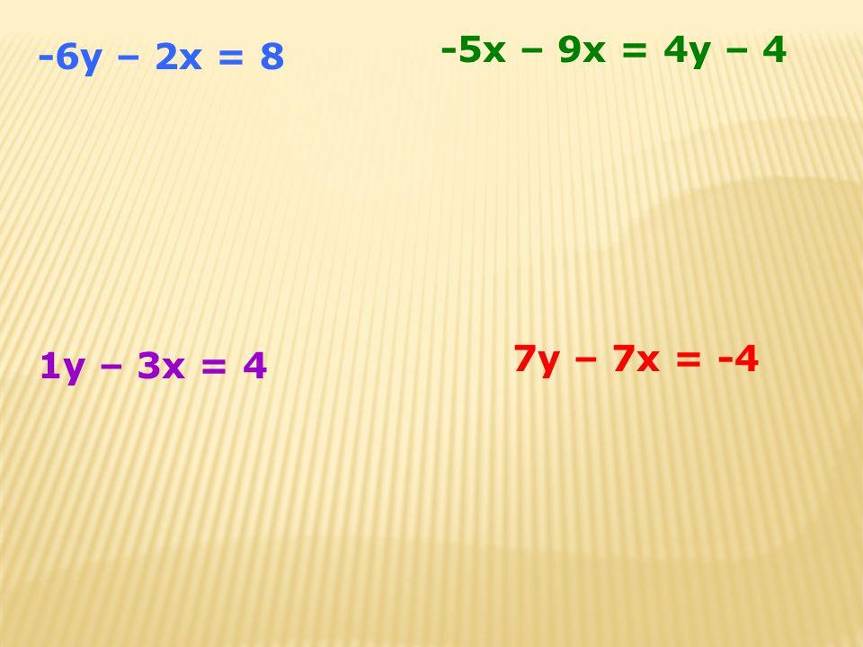 -5x – 9x = 4y – 4 -6y – 2x = 8 7y – 7x = -4 1y – 3x = 4
