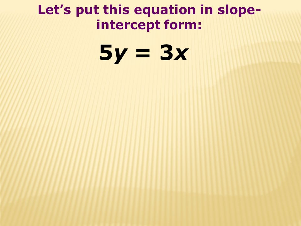 Let's put this equation in slope-intercept form: